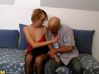 Look at these two mature persons how begins pleasuring themselves. This is the perfect moment to be on that couch. This bald guy is taking off these lady clothes, and begins fingering her. He gentle goes to take up with the tongue her pussy, while the boobs are groped hard. I wonder what the mature will do next, shall we watch?