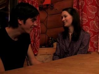 Skinny dark brown enjoys sex on table