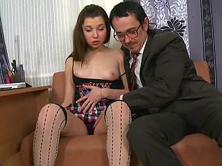 Little sexually enjoyable bitch is riding naughty on an old heavy schlong