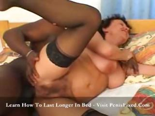 Brunette MILF, masturbates before getting ass fucked by black dick