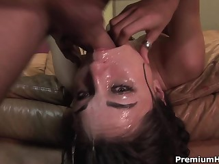 Well known dark-haired haired porn diva Sasha Grey gets her throat fucked extremely deep. She gets..