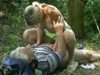 Youthful teen with grandpa