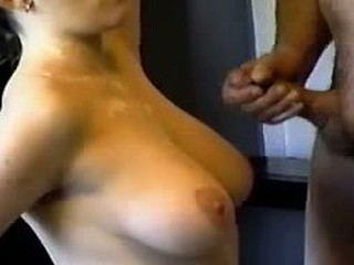 Here we have nasty movie with sticky cumshot: guy spurts streams of hot viscous liquid on female's tight boobs.