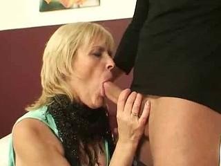 Granny cocksucker eats
