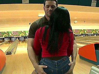 Bella loosing her ass at bowling to Jayla Foxx, he takes off her shorts, bents her over and licks..