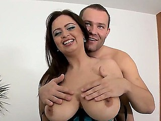 Glorious alluring brunette babe Sirale with huge melon tits succeed in interview