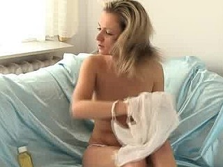 See this euro hotty rub massage oil on her body and boobies