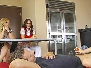 Perverted golden-haired teacher is making sure that her students are fucking right