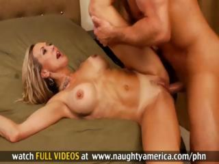 Hot blonde mommy blows her son's friend and then fucks for a facial
