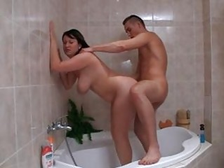 Chubby breasty brunette nasty fuck time in bathroom