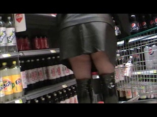 Black tights pvc mini skirt and black shiny boot