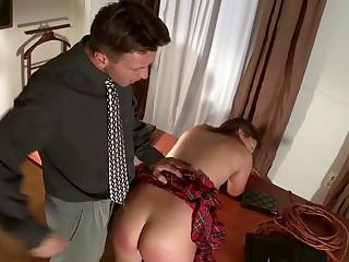 Leggy schoolgirl Gloria has spanked