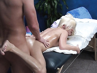 Blond playgirl sucks large dick and feels it entering wet vagina