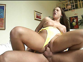 Hailey bouncing on the chunky dick.