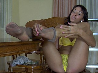 Margo showing her nylon feet