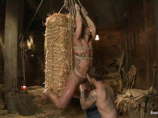 gay punished and pleased in a barn