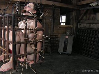 extreme torture in a bondage cage