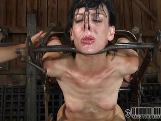 Sexy brunette whore Elise likes being all tied up and is screaming with pleasure. She gets the humiliation she longed for, having her small tits and tight ass spanked. She is tickled under her arms and feet. Her wet cunt craves for a giant dildo and an electric wand on her clitoris. Is she allowed to cum?