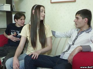 long hair teen enjoys sucking cock