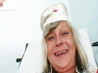 Nasty nurse mom id like to fuck Nada fucks herself together with big rubber toy