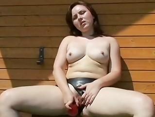 Strap-on bitch wishes mouthful of sexy jizz