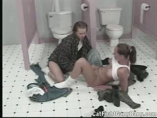 Lesbian Bathroom Fun