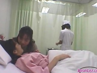Patient Giving a kiss With Her Girlfriend Getting Her Body Washed Tits Rubbed By The Nurse On The..