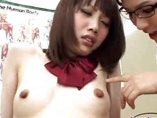 Schoolgirl With Small Milk sacks Getting Her Nipples Sucked By The Doctor On The Bed In The Surgery