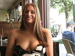 Patricia hot milf with sunglasses flashing love muffins in public and buying banana