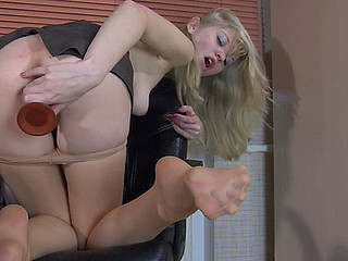 Paulina showing her nylon feet