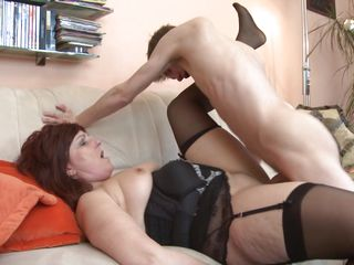 skinny boy fucks a mature lady
