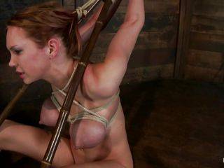 tied whore getting her pretty mouth stuffed with cock