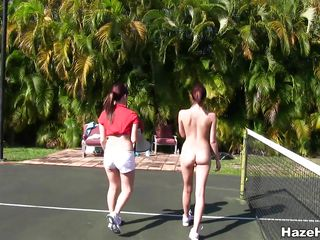 naughty teens having fun on the tenis field