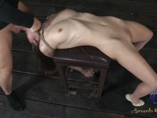 Sexy horny Casey on heels has her hands tied up by Matt. He prepares a chair for her and starts dominating her. He puts his hard cock inside her dirty mouth and throat fucks her. At the same time, this chab plays with that filthy pussy of hers with a vibrator. With her head downwards this chab cums on Casey`s pretty face. Check out if this slut cums too!
