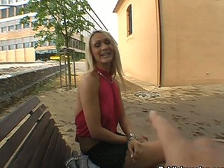 Cute girl pulls her panties to the side so a hard dick can slip in