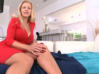 Wicked and adorable blond Holly is riding on his schlong