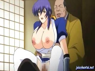 Blue-haired hentai babe with a set of giant knockers gets fucked by an older man