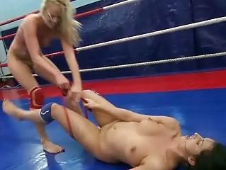 Wild girls in lesbian wrestling