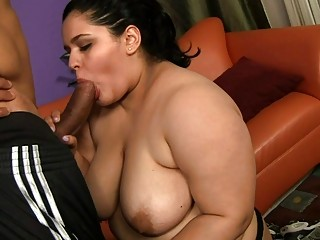 Chubby getting roped and fucked in hot mouth