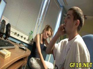 Sweet-looking teen gal takes hard ramrod of stranger in her tender hand