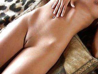 Very hot blonde masturbating on bed