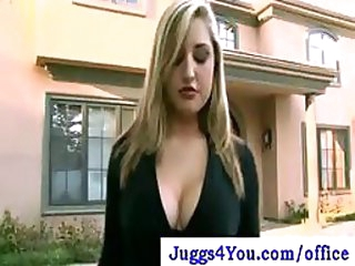 Extremely Breasty Golden-haired Office Slut Loves Cleaning In Her Pantyhose