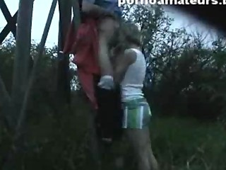 Amazing home movie with sexy pair fucking outside