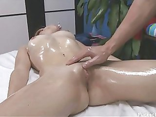 Gorgeous Blond Babe Gets Covered in Body Oil and Her Clit Massaged