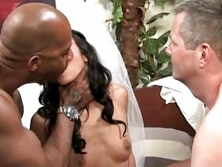 Slutty cuckold bride likes interracial
