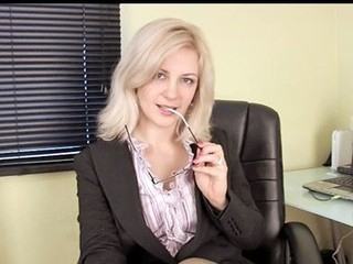 Horny secretary masturbates with her vibrator on her break