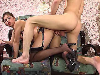 Sophia&Mike attractive nylon movie scene