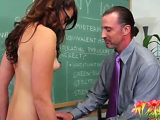 Virginal girl Ashley Storm got seduced by her college professor Tony DeSergio and she likes this..