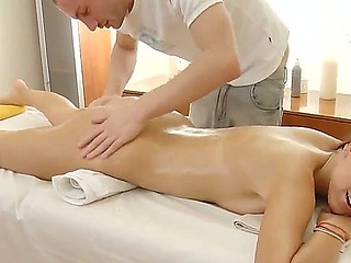 Gorgeous Aline becomes soaking wet and excited during her first massage and starts to suck..